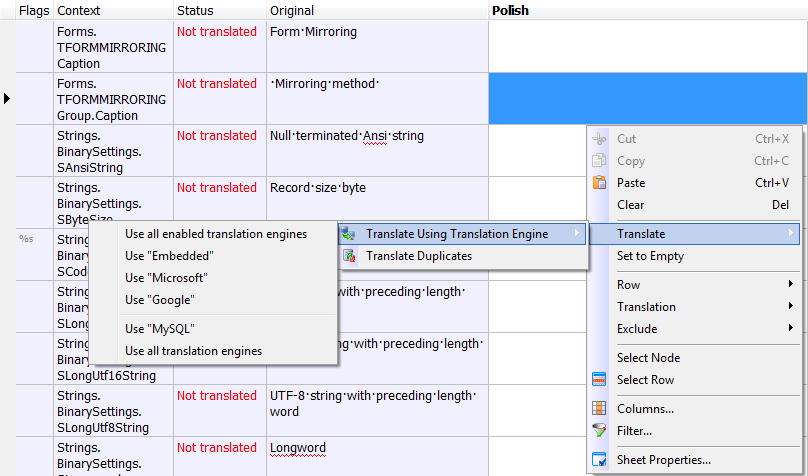 Sheet context menu