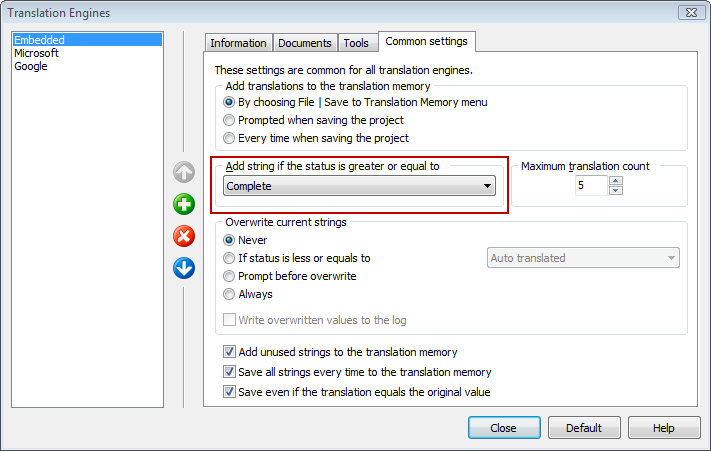 Translation Memory settings