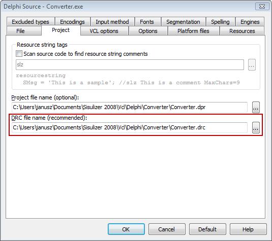 Using DRC file in Delphi localization