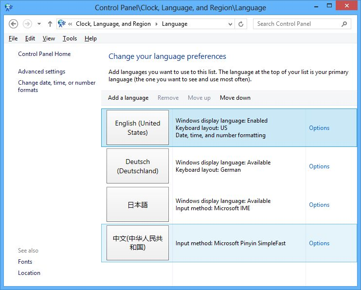Squares instead of foreign language characters on Windows 8